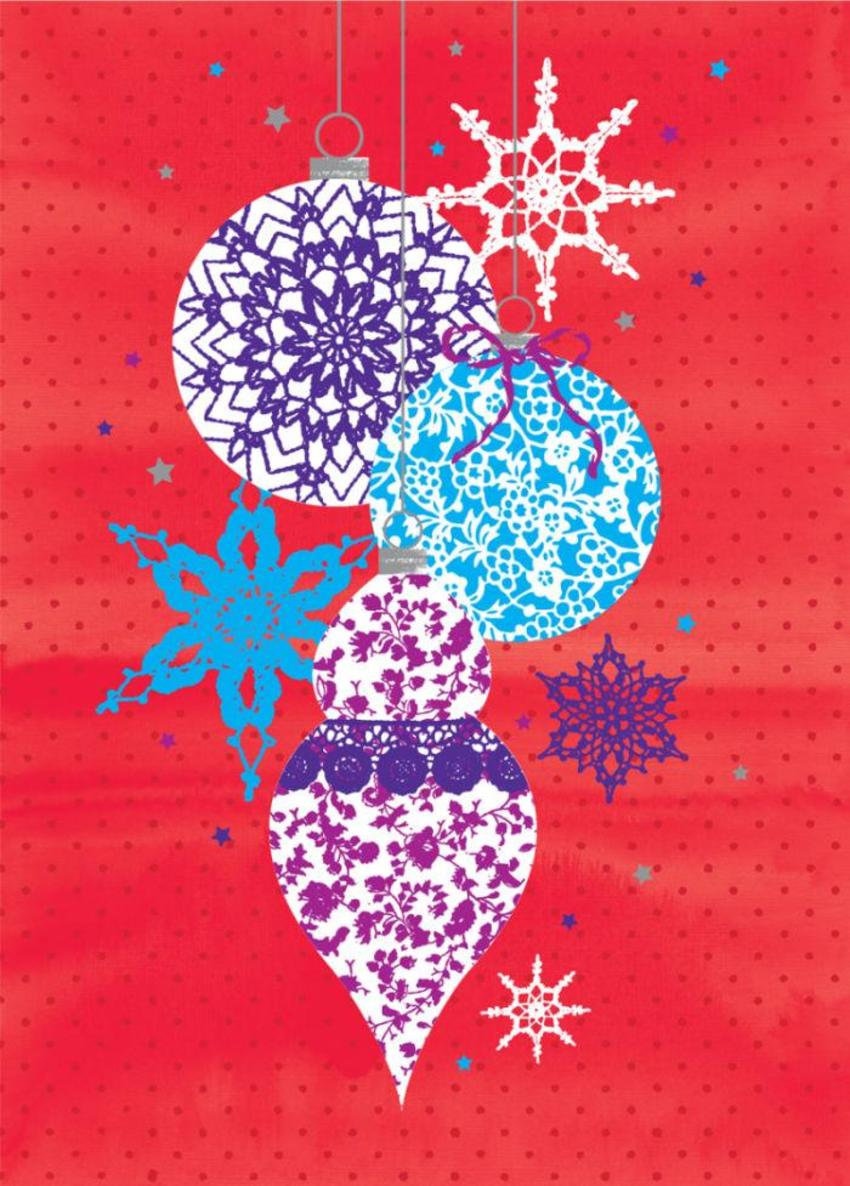 Christmas Contemporary Baubles On Red Background