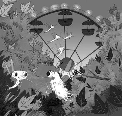 blackandwhite-mosquito-bugs-fiction-chapterbook-leaves