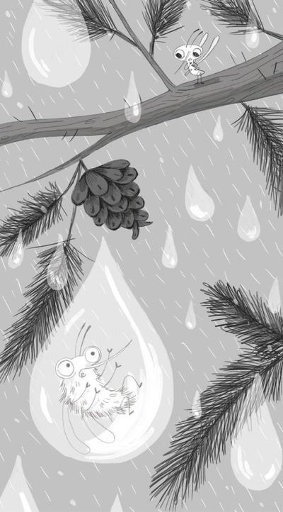 blackandwhite-mosquito-bugs-fiction-chapterbook-rain-rainny-tree