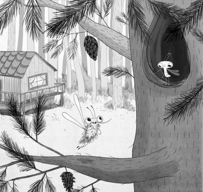 blackandwhite-mosquito-bugs-fiction-chapterbook-tree