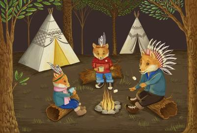 children-book-foxes-campfire