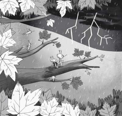blackandwhite-mosquito-bugs-fiction-chapterbook-storm-leaves-tree