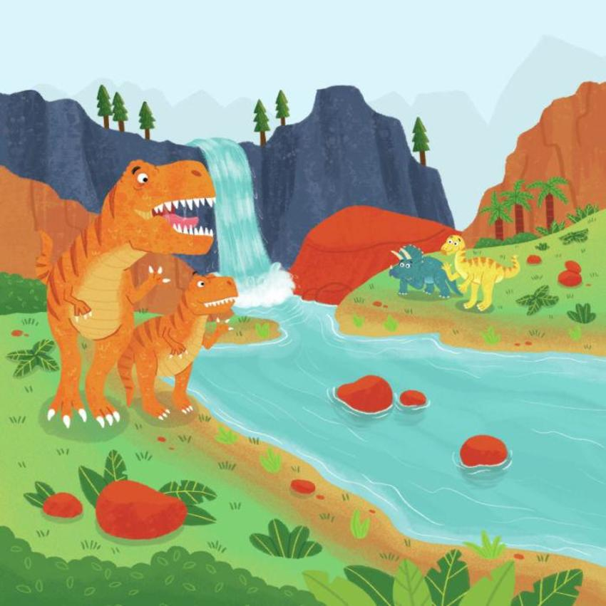 Dinosaurs T-rex Waterfall