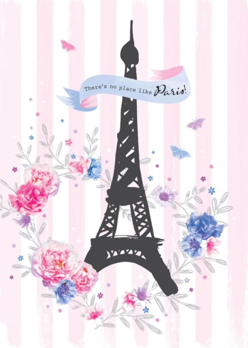 Female Birthday Love Anniversary Valentines Day Paris Eiffel Tower With Flowers On Pink Stripes