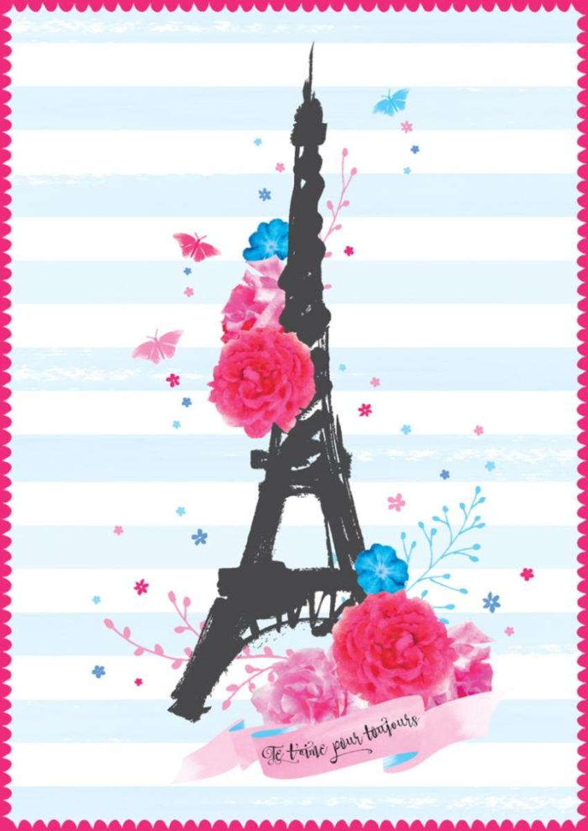 Love Anniversary Valentines Day Female Birthday Paris Eiffel Tower With Flowers On Pink Stripes