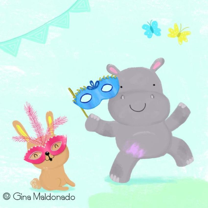 Hippo And Rabbit Wearing Mask - GM