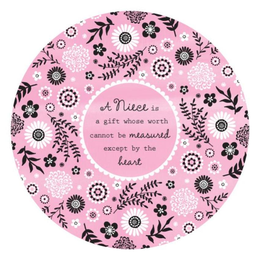 Female Birthday Mothers Day Niece Quote Thank You Get Well Soon Floral Pattern Background Disc