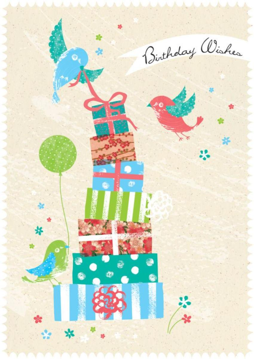 Female Birthday Birds With Balloon And Presents