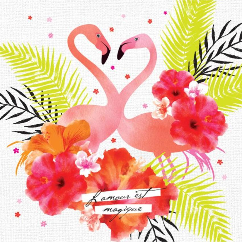 Love Anniversary Valentines Day Floral Flamingos And Tropical Flowers