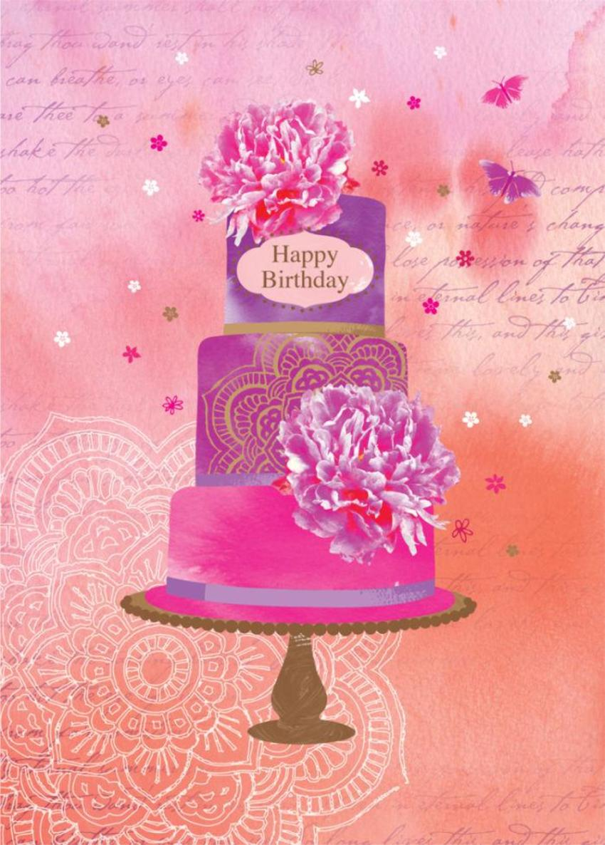 Female Birthday Floral Wedding Cake With Flowers 2