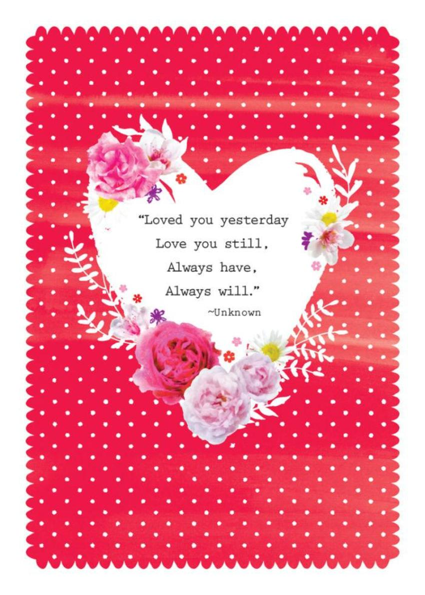 Love Anniversary Valentines Day Love Quote Floral Flowers Heart On Red Polka Dots Background