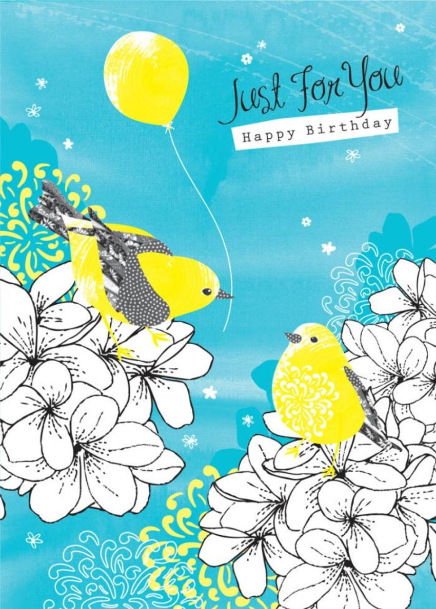 Female Birthday Floral Birds On Flowers