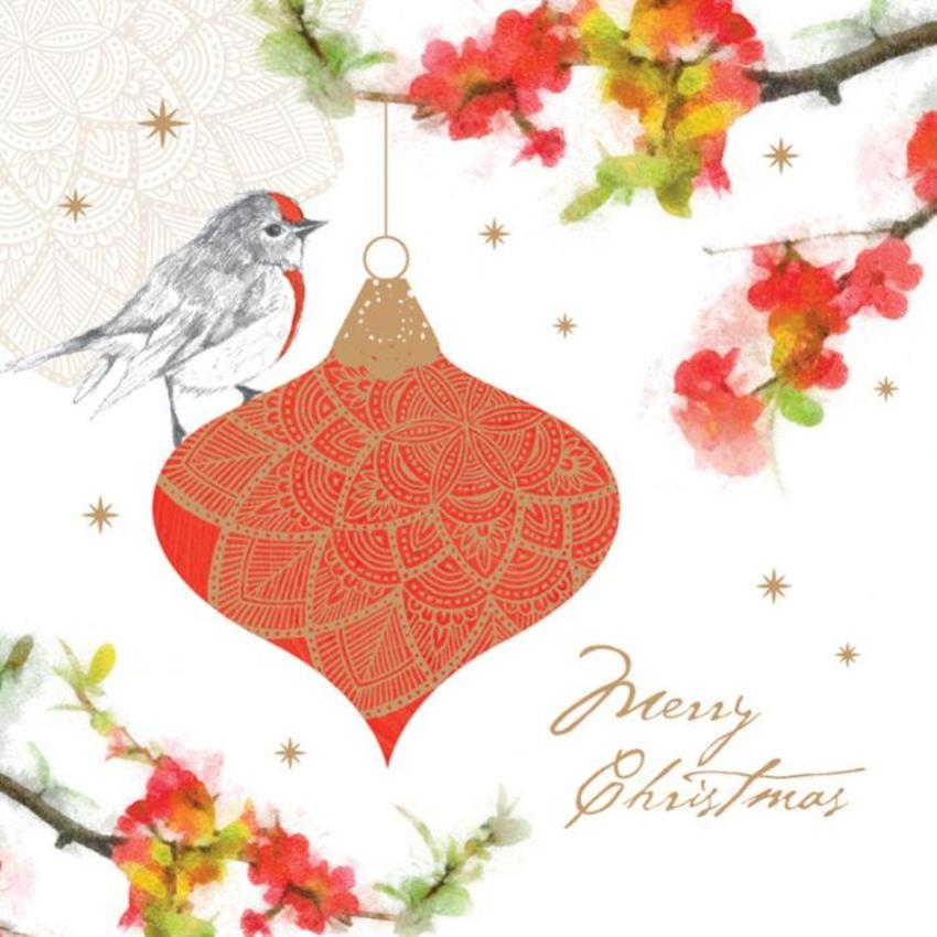Christmas Bauble With Robin In Tree With Flowers
