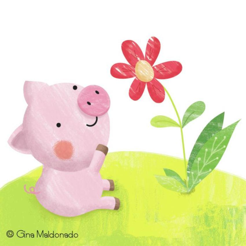 Piggy And Flower - GM