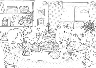 claire-keay-line-drawing-girl-s-tea-party-jpg