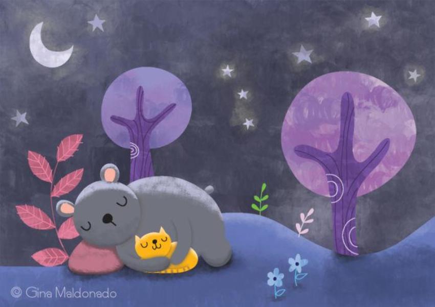 Cat And Bear Sleeping At Night - GM