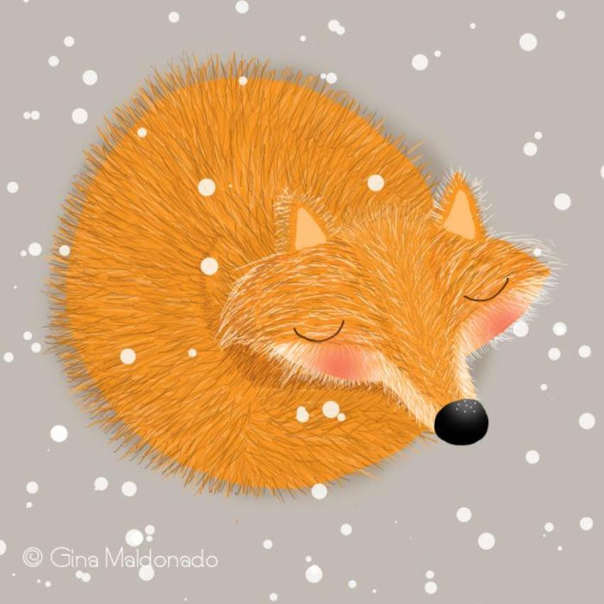 Fox Sleeping In The Snow - GM