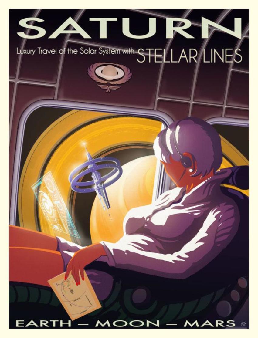 Saturn Travel Scfi Retro Poster
