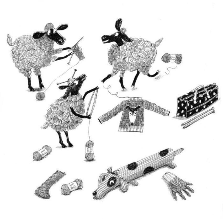 B&W Sheep Knitting