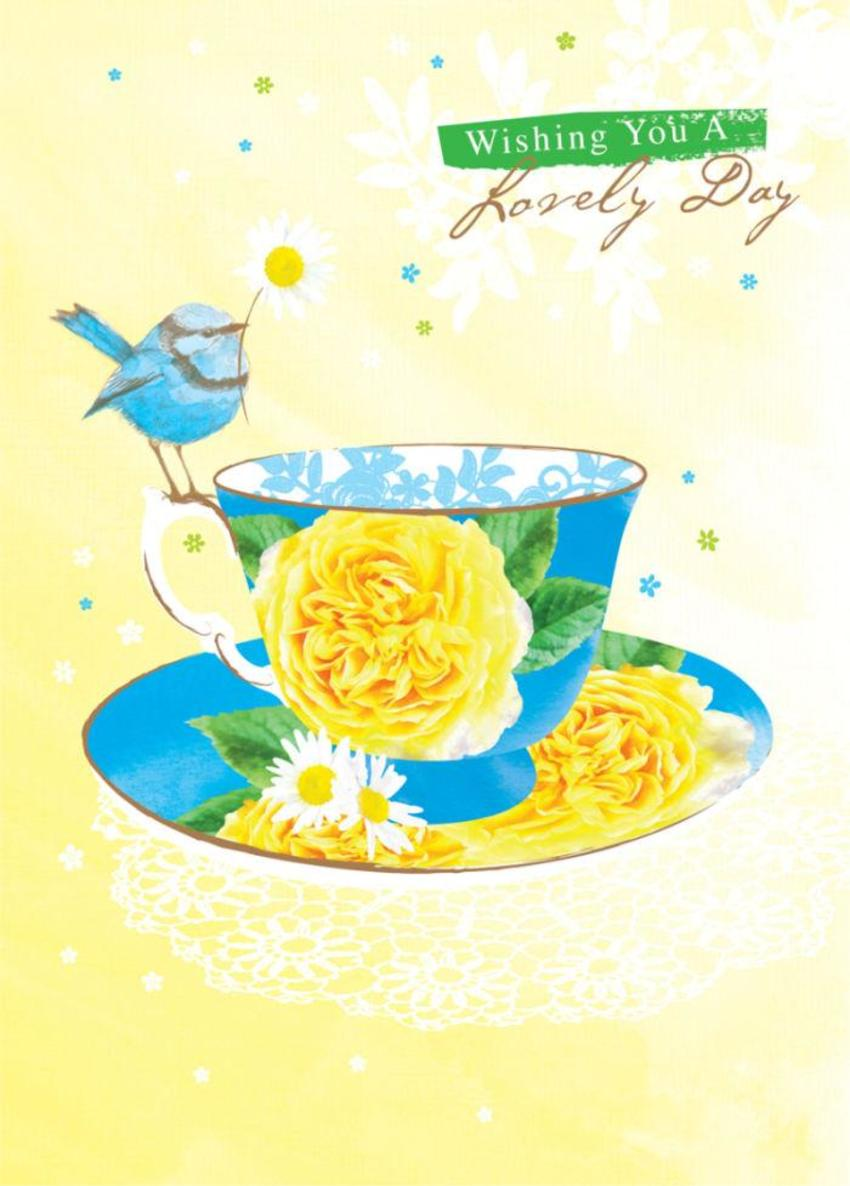 Female Birthday Mothers Day Get Well Day Floral Bird On Teacup With Flowers 1