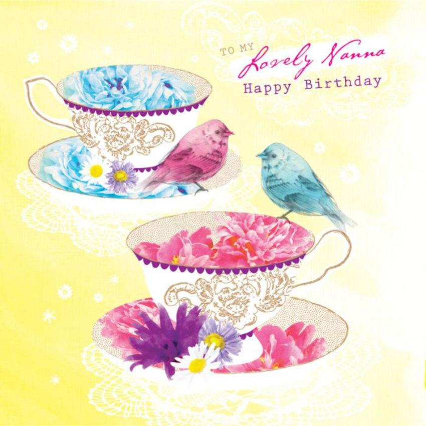 Female Birthday Mothers Day Floral Flower Birds On Teacups