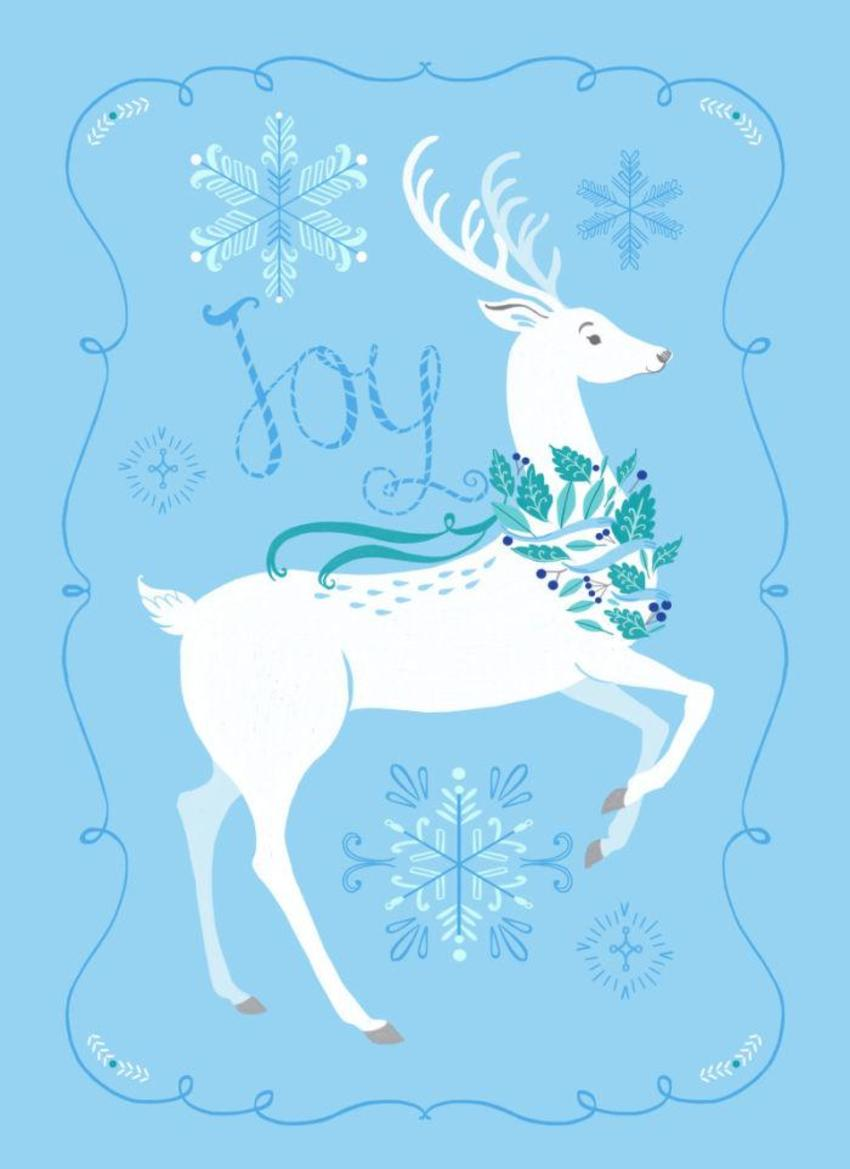 Blue And White Christmas_deer And Snowflakes