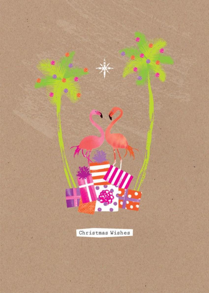 Christmas Tropical Christmas Tree Flamingos On Presents