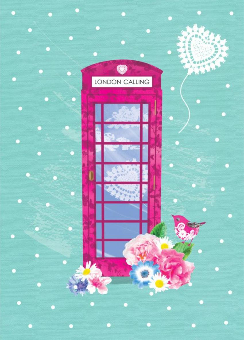 Bon Voyage Leaving London Calling Pink Telephone Box With Flowers And Bird