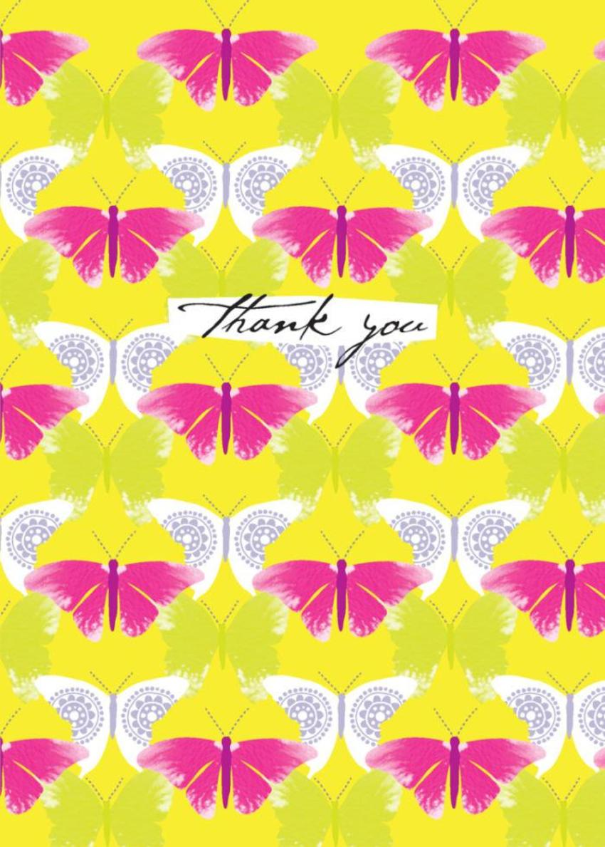 Thank You Tropical Butterfly Butterflies Pattern Background