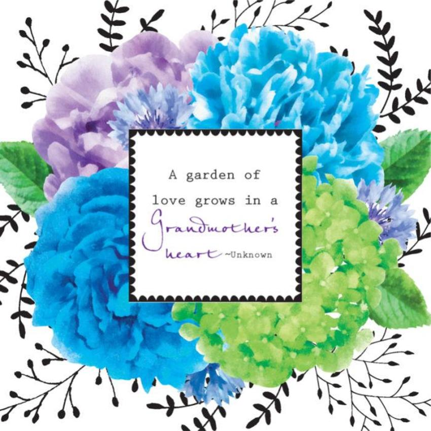 Female Birthday Mothers Day Grandmother Gran Nan Nana Quote Floral Flowers In Blue