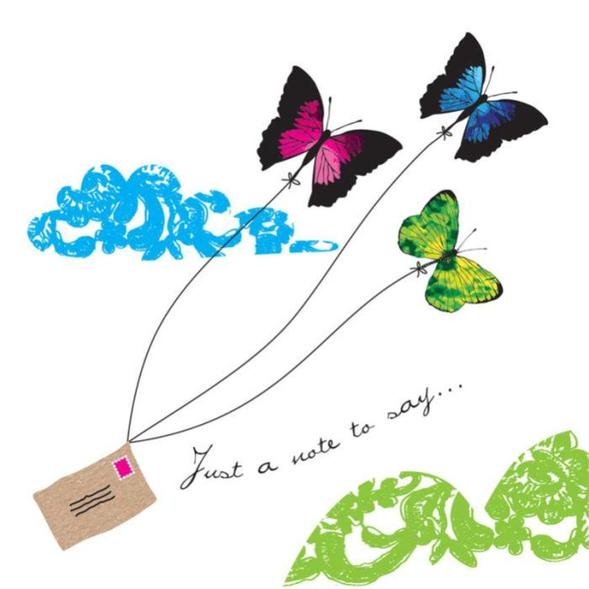 Thank You Just A Note Thinking Of You Butterflies With Letter 1
