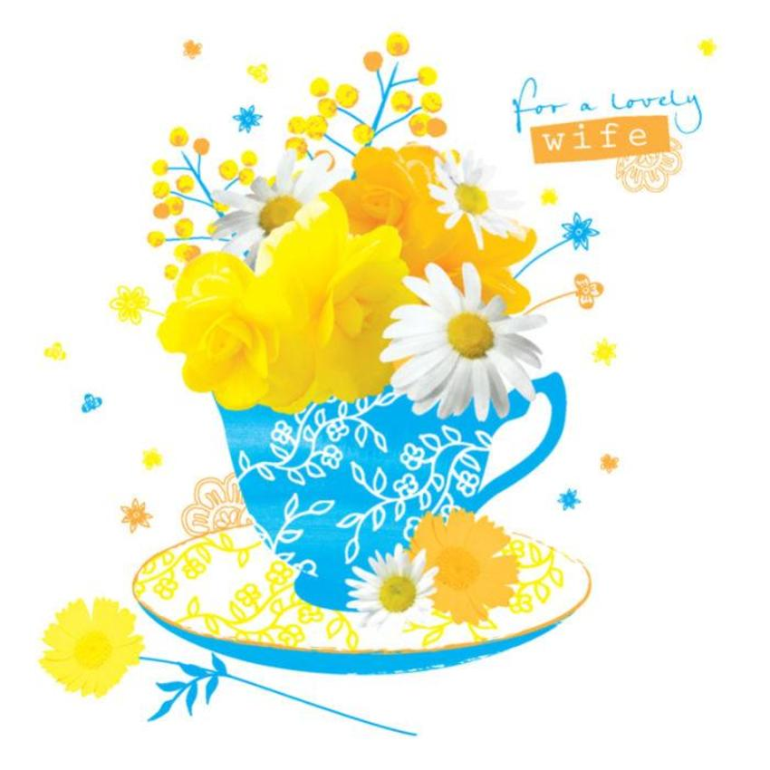 Female Birthday Mothers Day Thank You Get Well Teacup With Flowers 4