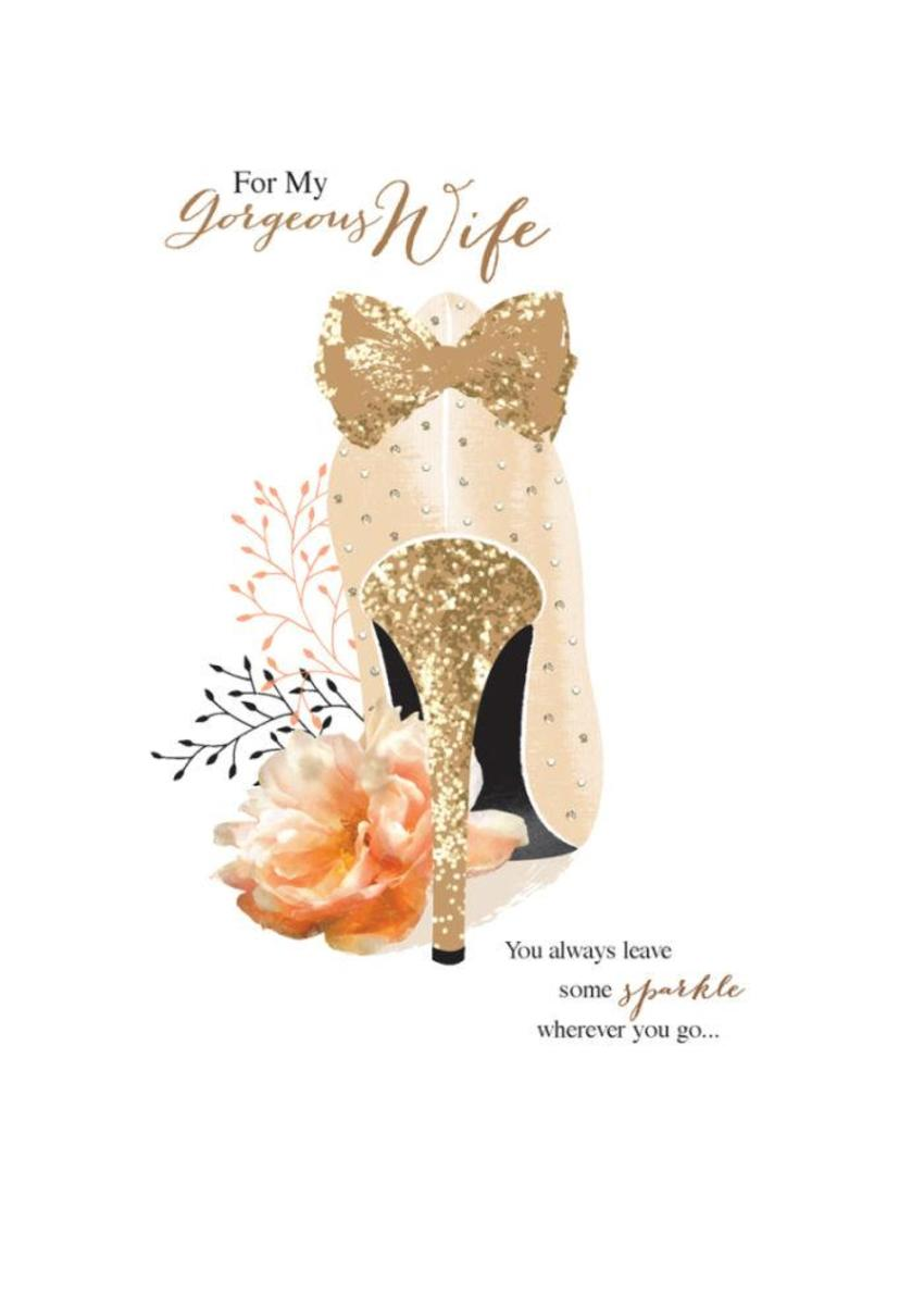 Female Wife Girlfriend Birthday Mothers Day Floral Flowers Gold Sparkle High Heel Stiletto Shoes