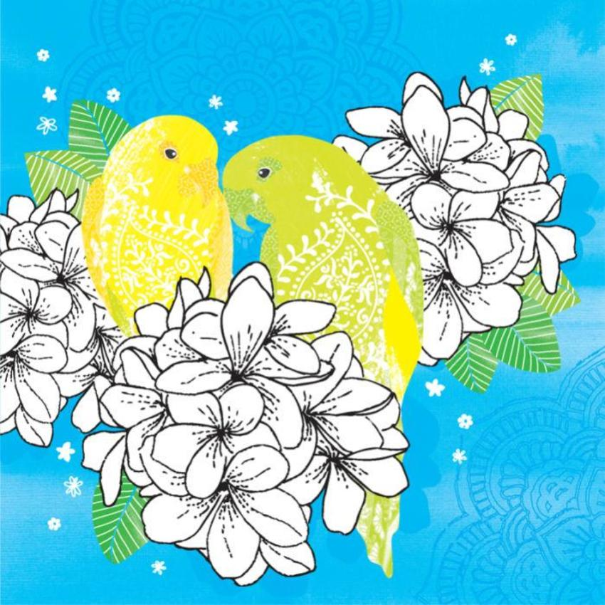 Love Annivesary Floral Tropical Birds Parrots On Flowers
