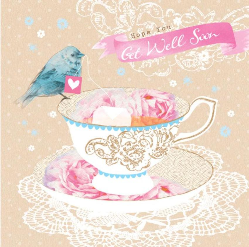 Get Well Thinking Of You Female Birthday Mothers Day Floral Bird On Teacup