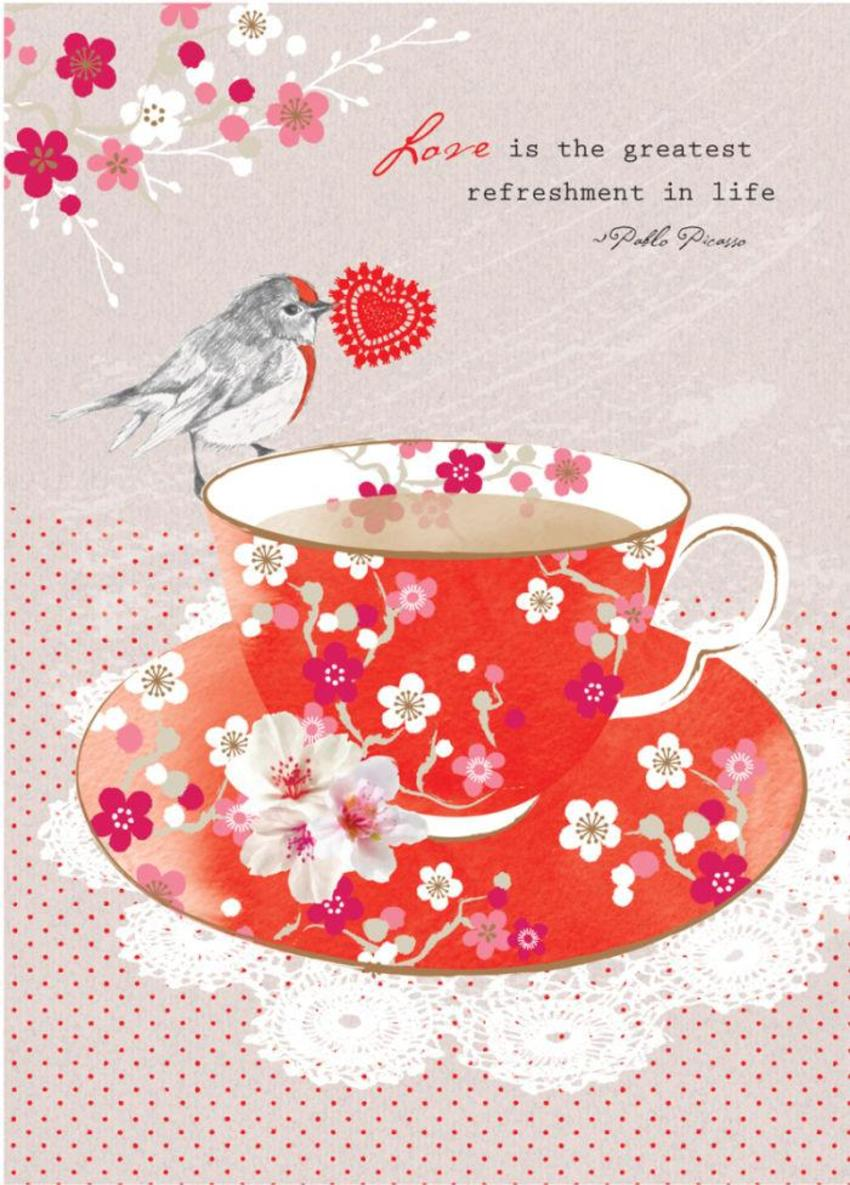 Love Anniversary Valentines Day Love Quote Wife Birthday Floral Flowers Bird On Red Teacup