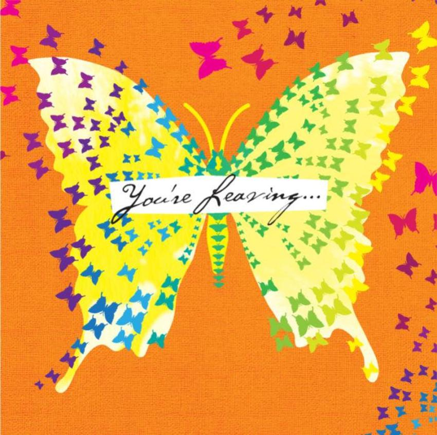 Leaving Goodbye And Goodluck Bon Voyage Female Birthday Bright Butterflies On Orange