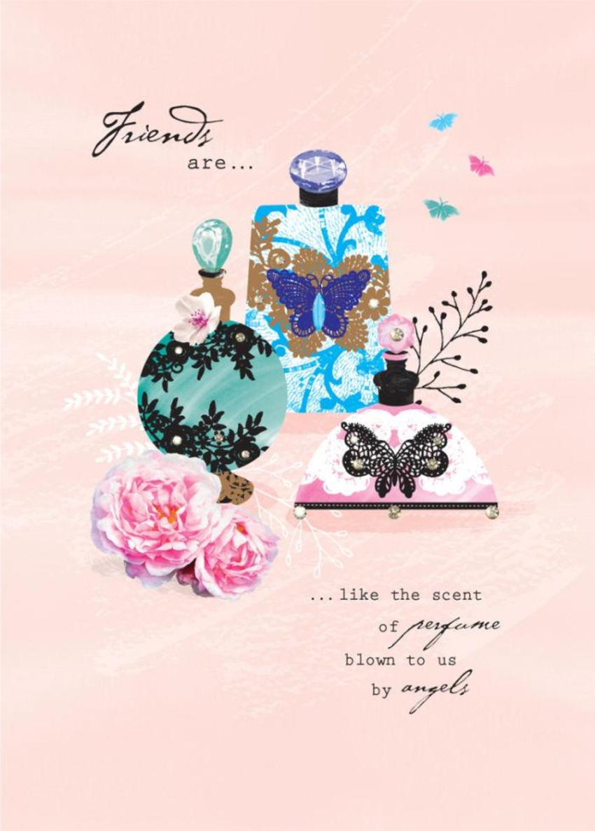 Female Birthday Mothers Day Friend Birthday Friend Quote Perfume Bottles And Flowers