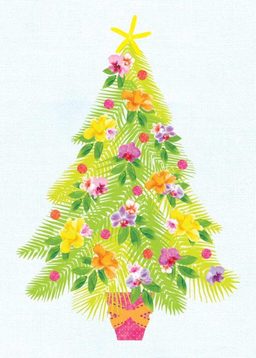 Christmas Australian Christmas Australiana Tropical Christmas Tree With Flowers
