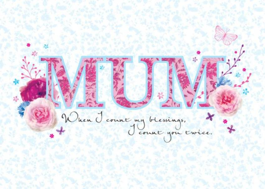 Mothers Day Mum Quote Typographic Mum With Flowers