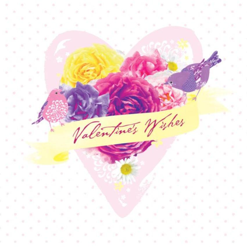 Love Anniversary Valentines Day Floral Flowers Heart With Birds On Polka Dots Background