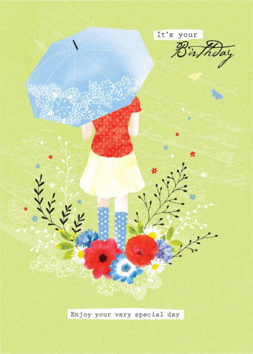 Female Birthday Thinking Of You Girl With Umbrella In Garden