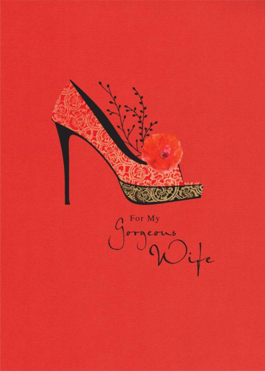Female Birthday Wife Birthday Anniversary High Heel Stiletto Shoe On Red
