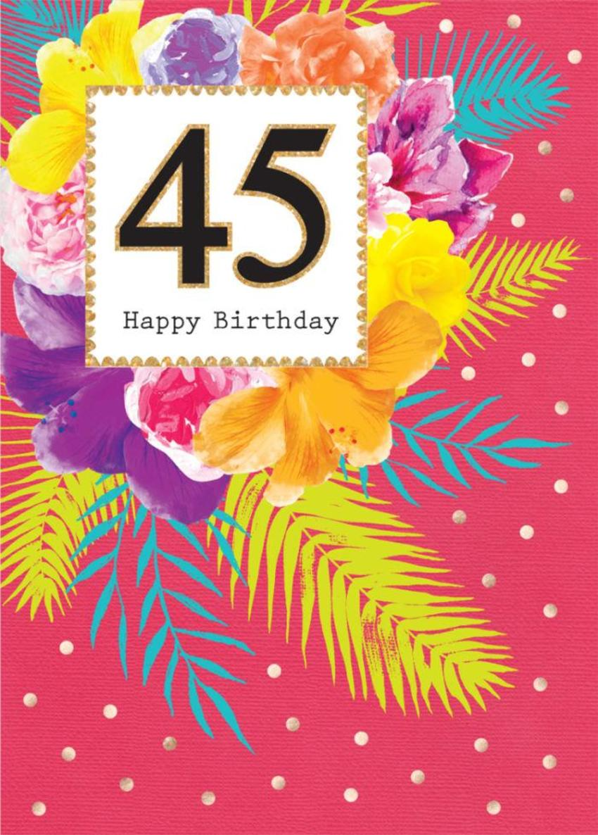 Female Birthday Milestone Age Birthday Big Number Tropical Flowers Floral With Gold Spots 3