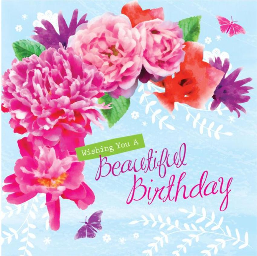Female Birthday Mothers Day Thank You Floral Flowers And Butterflies