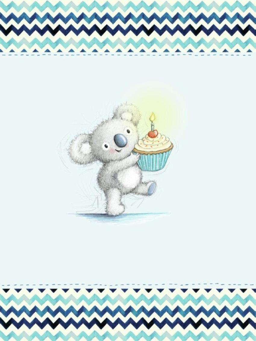 Gail Yerrill Katy Koala With Cupcake Birthday Cute003