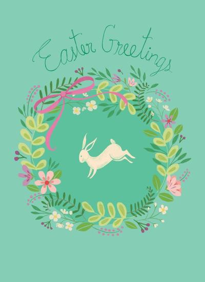 easter-greeting-card-white-bunny-wreath
