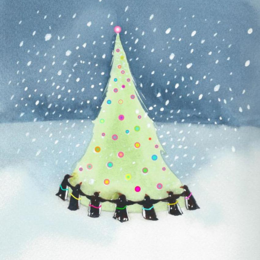 Penguins Dancing Christmas Tree