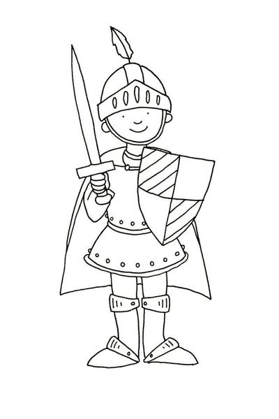 claire-keay-line-drawing-knight-with-sword-and-shield-jpg