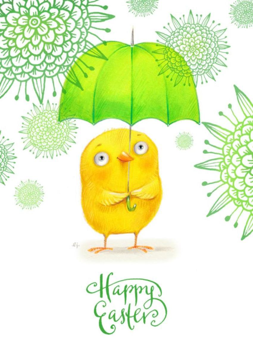 Happy Easter Umbrella Bird 2